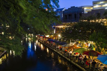 On the riverwalk in San Antonio at night, Texas