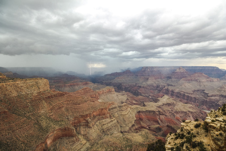 View at the Grand Canyon landscape with thunderstorm
