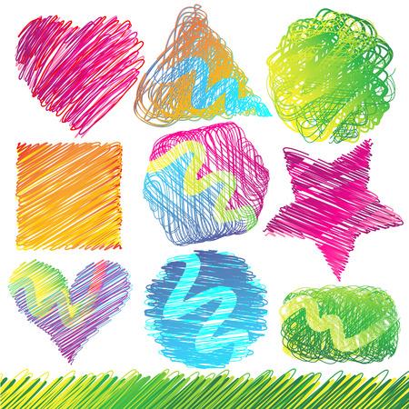 Set of Colorful Doodled Shapes