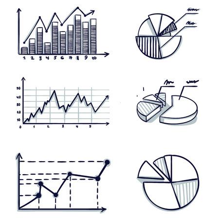Illustration pour Trendy hand-drawn vector bar graph coordinate design. Doodle cartoon vector illustration. - image libre de droit