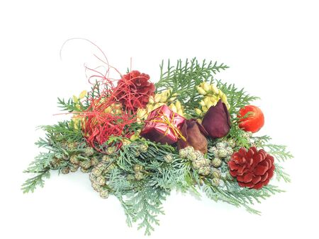 background with Christmas decoration from natural materials