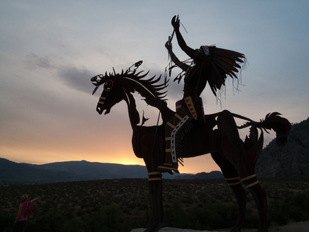 Photo for Native Sculpture at sunset  in Okanagan valley, British Columbia, Canada - Royalty Free Image