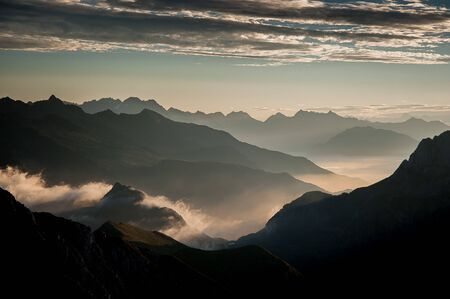 Photo pour Sunrise with clouds seen from the Arera peak - image libre de droit