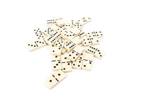 game dominoes rectangular bottom plastic range of the white background in studio