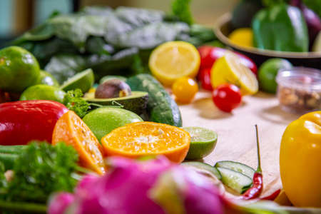Photo for Healthy food clean eating selection: fruit, vegetable, seeds, superfood, leaf vegetable and mediterranean dishes. Detox and clean diet. Foods high in vitamins, minerals and antioxidants. - Royalty Free Image