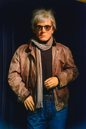 PRAGUE, CZECH REPUBLIC - MAY 2017: wax statue of Andy Warhol in a wax statue museum in the Czech Republic in the capital Prague