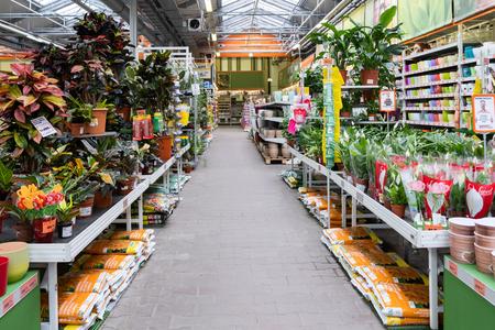 Photo pour ST. PETERSBURG, RUSSIA - MARCH, 2019: Plants in an Intratuin garden store - image libre de droit