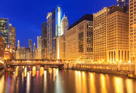 City of Chicago  Image of the Chicago downtown riverside at night