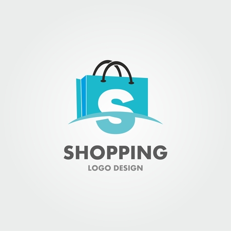 Ilustración de Abstract letter S on shopping bag. Abstract shopping logo. Online shop logo. - Imagen libre de derechos