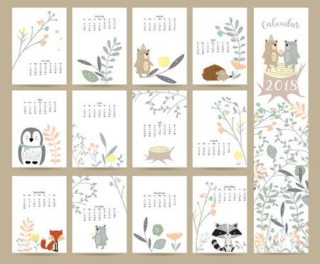 Illustration pour Colorful cute monthly calendar 2018 with wild,fox,bear,skunk,leaf,stump,flower,penguin and porcupine.Can be used for web,banner,poster,label and printable - image libre de droit