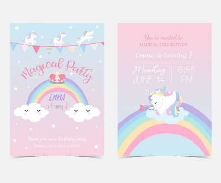 Illustration pour Hand drawn pink blue card and label with sleep unicorn,flag,rainbow,cloud,star and crown - image libre de droit
