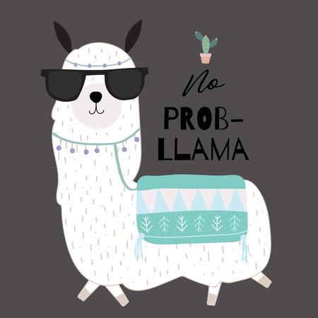 caba5cb40 Black green hand drawn cute card with llama, glasses,cactus in summer.No