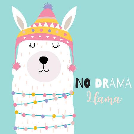 Illustration for Blue green hand drawn cute card with llama and hat.No drama llama - Royalty Free Image