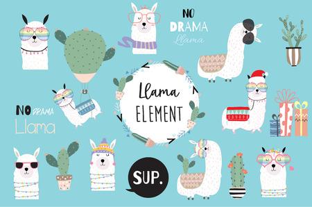 Ilustración de Blue hand drawn cute card with llama, heart glasses and hat in winter christmas.include wording No drama llama,no problem llama - Imagen libre de derechos