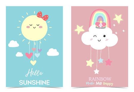 Illustration pour Colorful hand drawn cute card with rainbow,heart,cloud,star,sun.Rainbow make me happy.Hello sunshine - image libre de droit