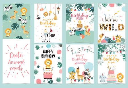 Ilustración de Green birthday card with tiger, giraffe, zebra,cake,leaf,rainbow,light and balloon - Imagen libre de derechos