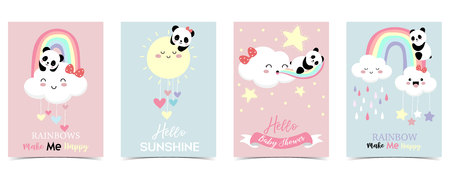 Illustration pour Colorful hand drawn cute card with rainbow,heart,cloud,panda and rain.Rainbow make me happy - image libre de droit
