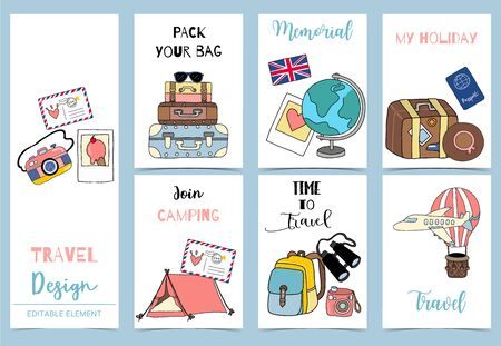 Illustration for Collection of safari background set with tent, air mail balloon,  luggage, airplane. Editable vector illustration for birthday invitation, postcard and sticker - Royalty Free Image