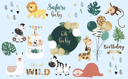 Ilustración de Safari object set with monkey, giraffe, zebra, lion, balloon. illustration - Imagen libre de derechos