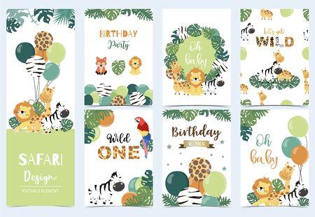 Ilustración de Collection of safari background set - Imagen libre de derechos