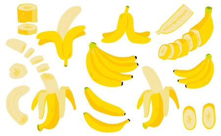 Illustration pour Cute banana fruit object collection.Whole, cut in half, sliced on pieces banana. Vector illustration for icon,sticker,printable - image libre de droit