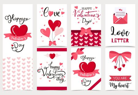 Illustration pour Collection of valentine's day background set with heart,letter,ribbon.Editable vector illustration for website, invitation,postcard and sticker.Wording include love you, you are my heart - image libre de droit
