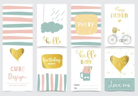 Illustration for Collection of cards set with heart,cloud,rain.Vector illustration for birthday invitation,postcard and sticker.Editable element - Royalty Free Image