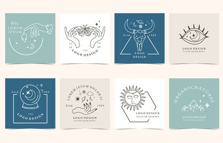 Illustration pour Collection of occult background set with hand,sun,wild,butterfly.Editable vector illustration for website, invitation,postcard and sticker - image libre de droit