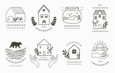 Foto für Home and house logo collection with wild,natural,animal,flower,circle.Vector illustration for icon,logo,tattoo,accessories and interior - Lizenzfreies Bild