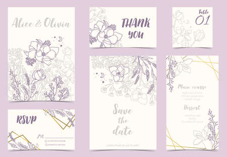 Illustration pour Flower wedding invitation with magnolia, lavender and leaves.Vector birthday invitation for kid and baby.Editable element - image libre de droit