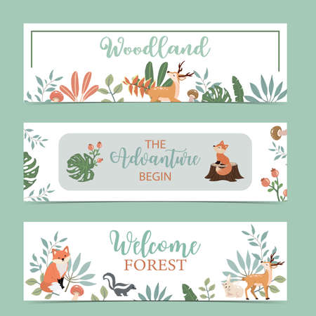 Illustration for Set of cute woodland with fox,rabbit,mushroom.Vector illustration for baby invitation, kid birthday invitation,banner and postcard - Royalty Free Image
