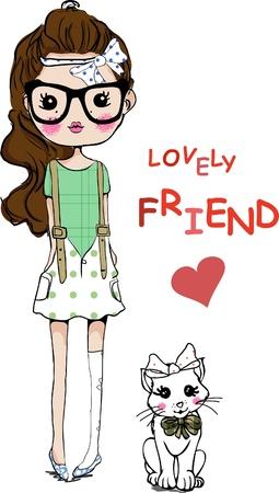 Ilustración de illustration cute girl with cat - Imagen libre de derechos