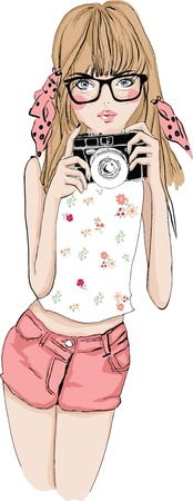 illustration cute girl with camera