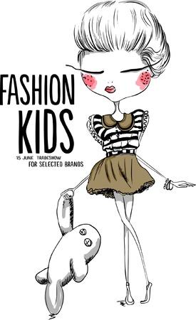 Ilustración de illustration cute girl shopping - Imagen libre de derechos