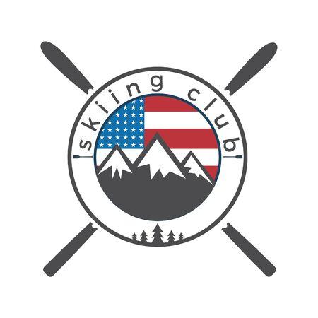 USA flag and Mounting skiing logo design. Ski club logo design.