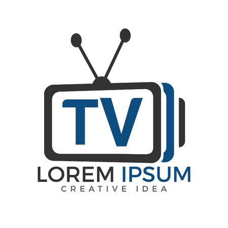 Illustration pour Letter TV logo design. TV media logo design concept template Vector illustration. - image libre de droit