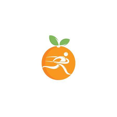 Illustration pour Running man and orange logo design.Diet and weight loss concept. - image libre de droit