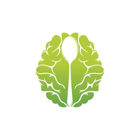 Illustration pour Brain Food vector logo design. Thing Food logo design template. - image libre de droit