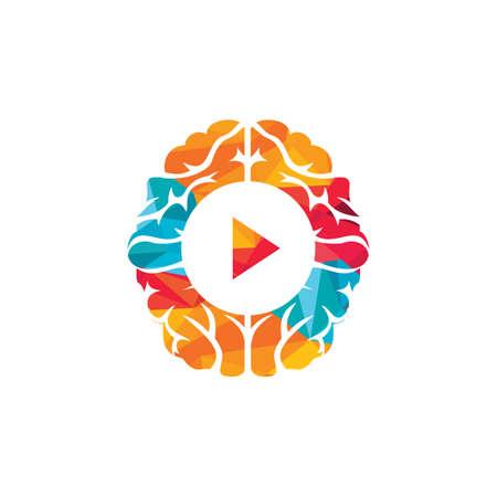 Illustration pour Brain media player vector logo design. Mind play logo template design. - image libre de droit