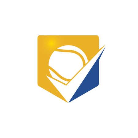 Illustration pour Check Tennis vector logo design. Tennis ball and tick icon logo. - image libre de droit