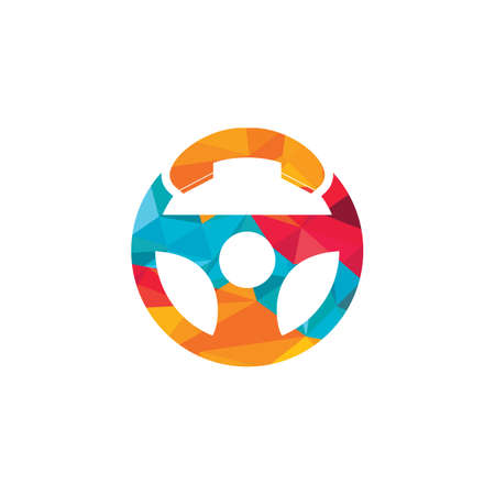 Illustration pour Drive call vector logo design. Steering wheel and phone symbol or icon. - image libre de droit