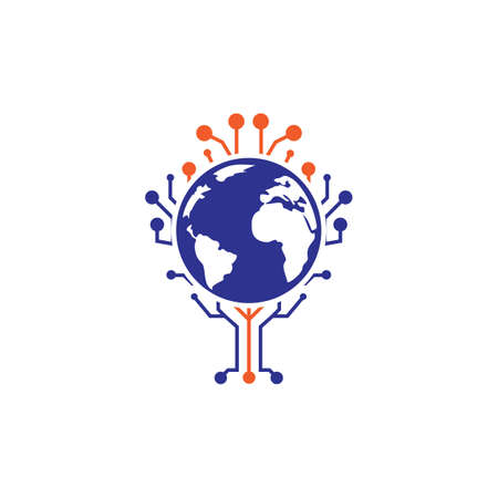 Illustration pour World tech vector logo design template. Globe and tech tree icon design. - image libre de droit