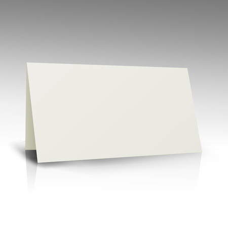 Illustration pour White Folder Paper Greeting Card Vector Template. Business Mock Up Fold Brochure Illustration - image libre de droit