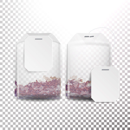 Illustration pour Realistic Tea Bag Mock Up With Empty White Label. 3D Realistic. Transparency Background - image libre de droit