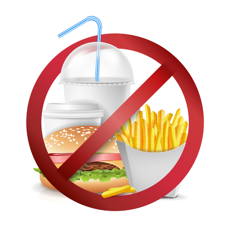 Illustration for Fast Food Danger Label Vector. No Food Or Drinks Allowed Sign. Isolated Realistic illustration. - Royalty Free Image