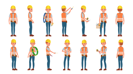 Illustration for Electrician Worker Male Vector. Makes Electrical Equipment. Different Poses. Cartoon Character Illustration - Royalty Free Image