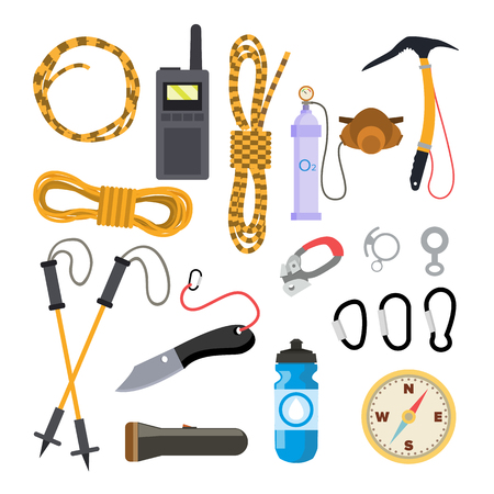 Illustration pour Climbing Icons Set Vector. Rock Trekking Equipment And Accessories. Isolated Flat Illustration - image libre de droit