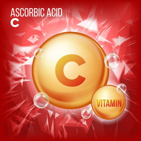 Illustration pour Vitamin C Ascorbic Acid Vector. Organic Vitamin Gold Pill Icon. Medicine Capsule, Golden Substance. For Beauty, Cosmetic, Heath Promo Ads Design. Vitamin Complex Formula. Illustration - image libre de droit