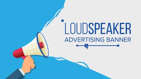 Illustration pour Loudspeaker In Hand Vector. Marketing Sign, Advertising. Social Media Marketing Concept. Flat Cartoon Illustration - image libre de droit