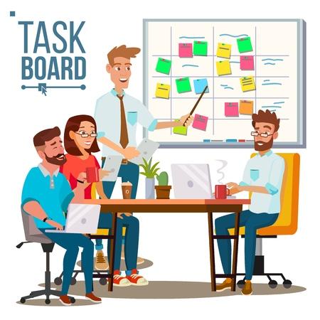 Illustration pour Businessmen Character discussing business strategy on scrum task board - image libre de droit